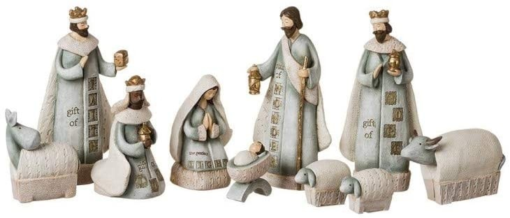 10-Piece Blue and Gold-stamped Nativity