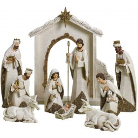 10-Piece Gold and Ivory Nativity